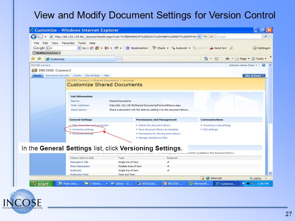 View and Modify Document Settings for Version Control
