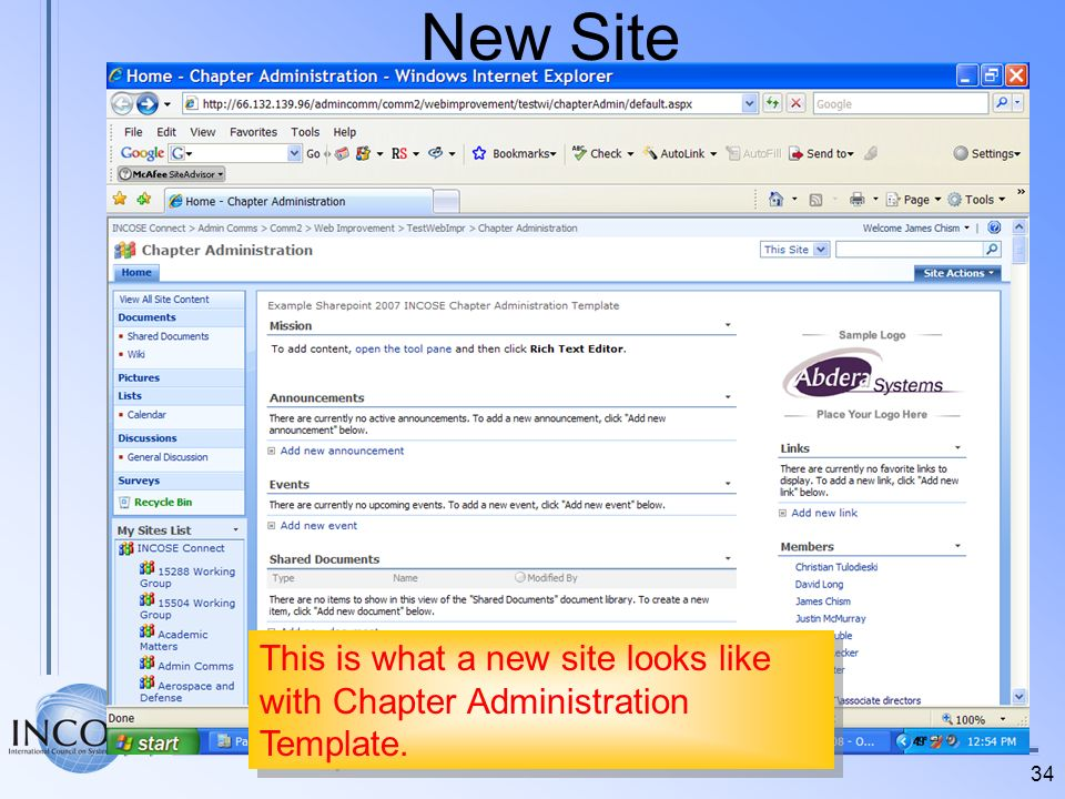 New Site This is what a new site looks like with Chapter Administration Template.