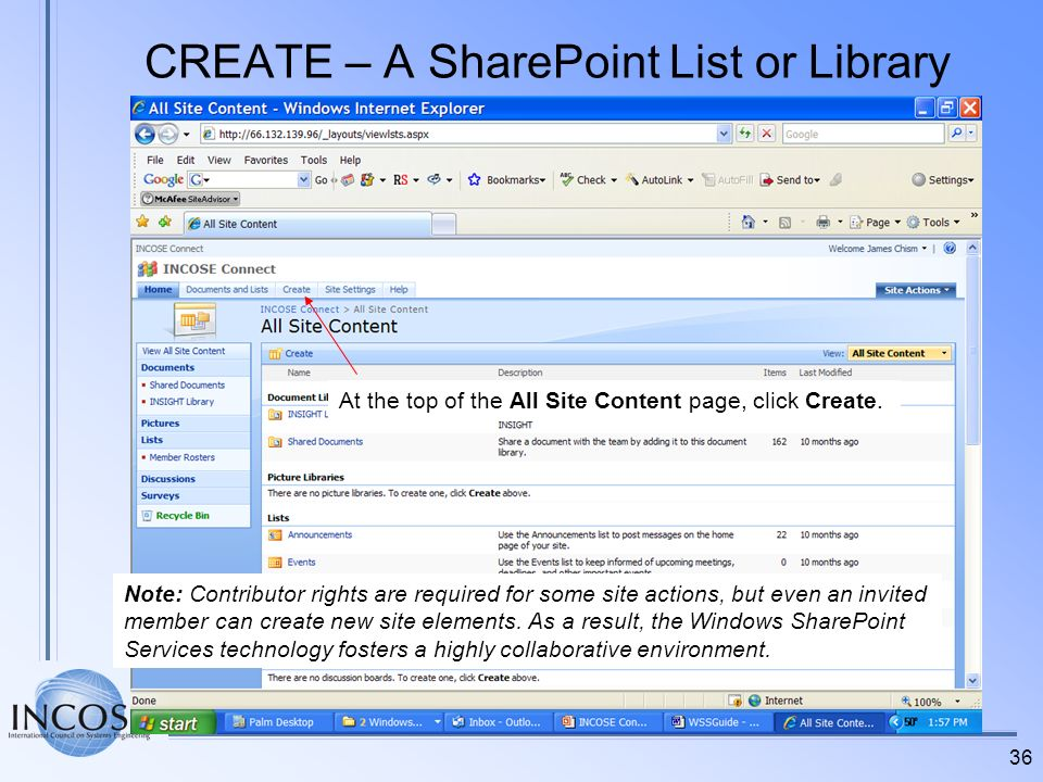 CREATE – A SharePoint List or Library