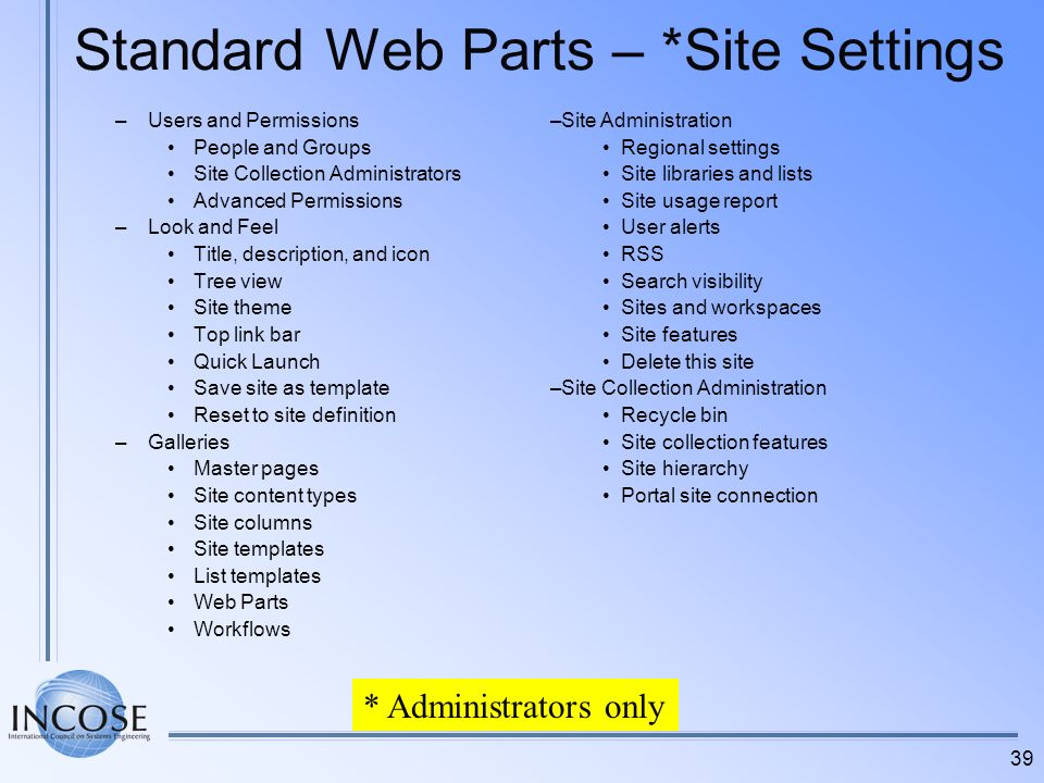 Standard Web Parts – *Site Settings