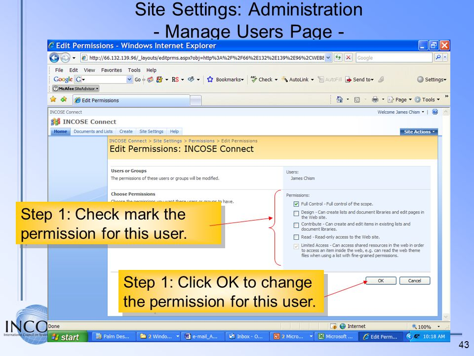 Site Settings: Administration - Manage Users Page -