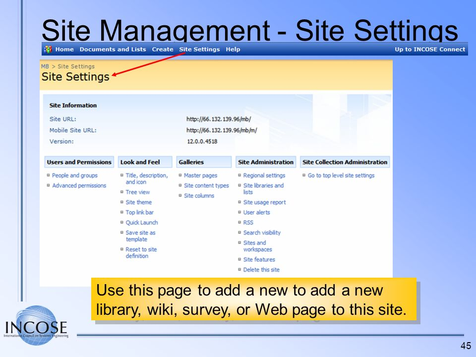 Site Management - Site Settings