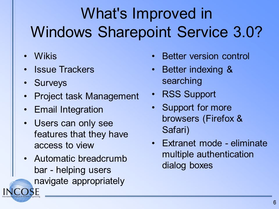 What s Improved in Windows Sharepoint Service 3.0