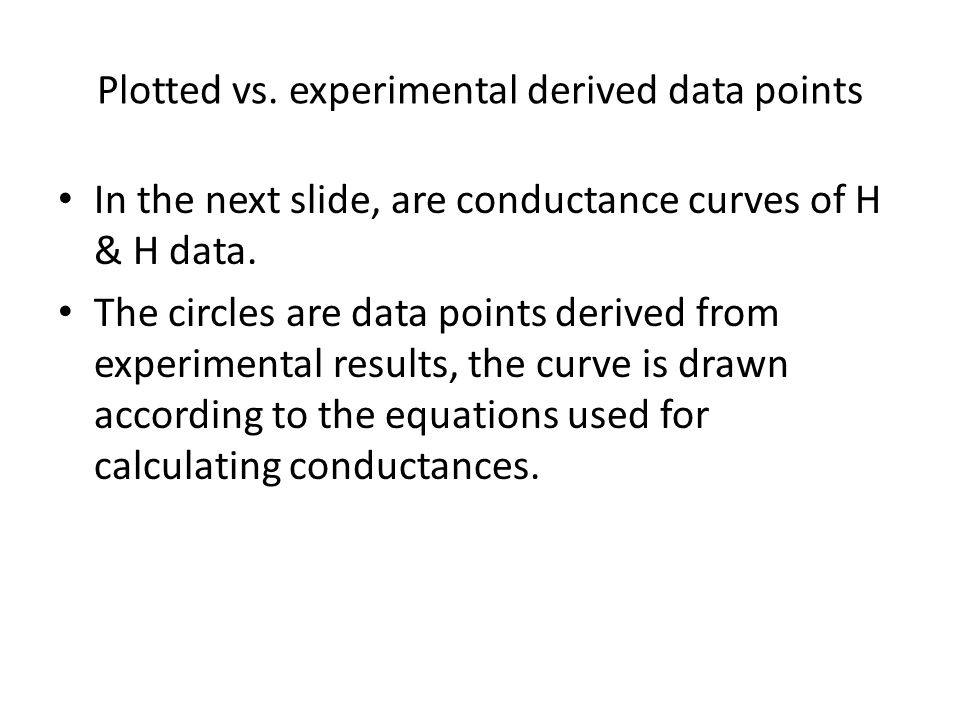Plotted vs. experimental derived data points