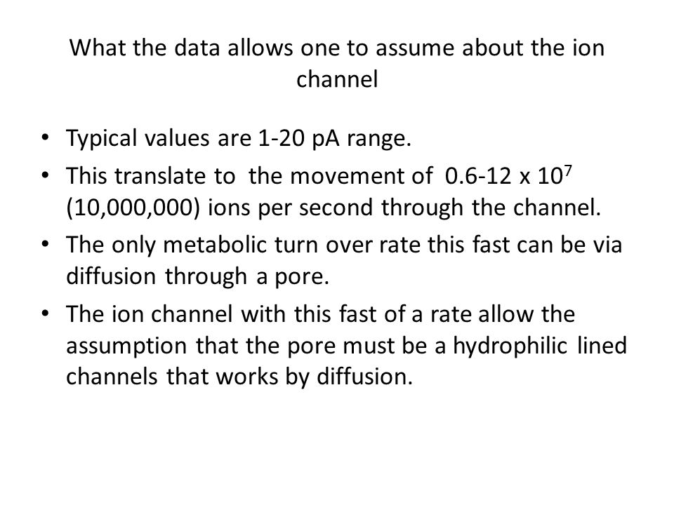 What the data allows one to assume about the ion channel