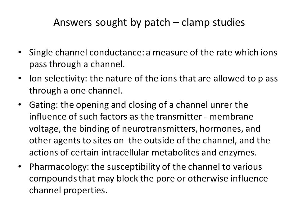 Answers sought by patch – clamp studies