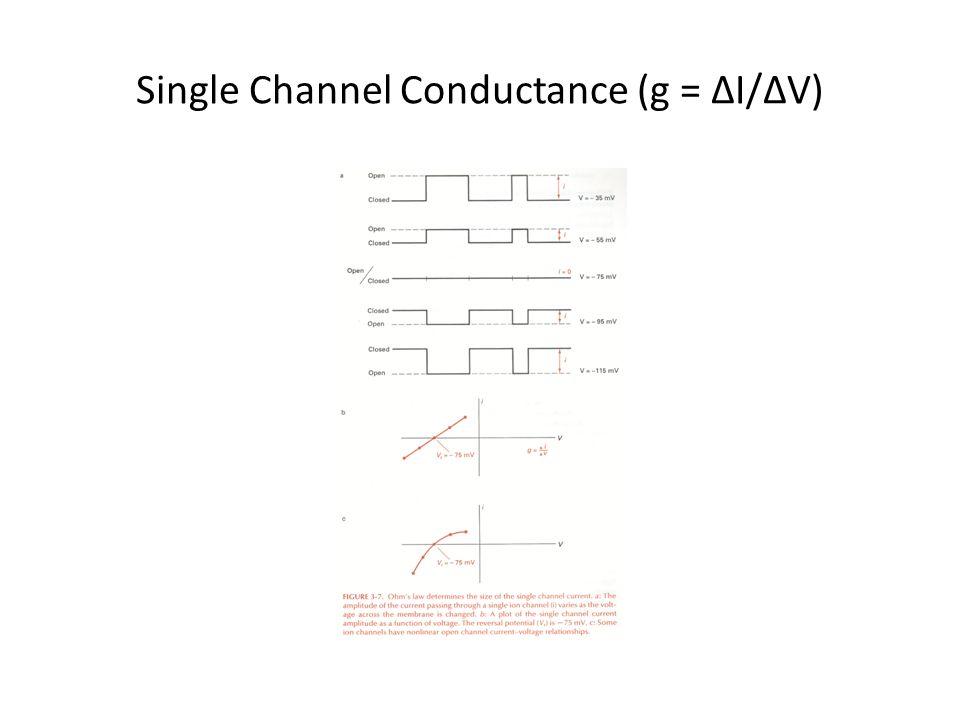 Single Channel Conductance (g = ∆I/∆V)