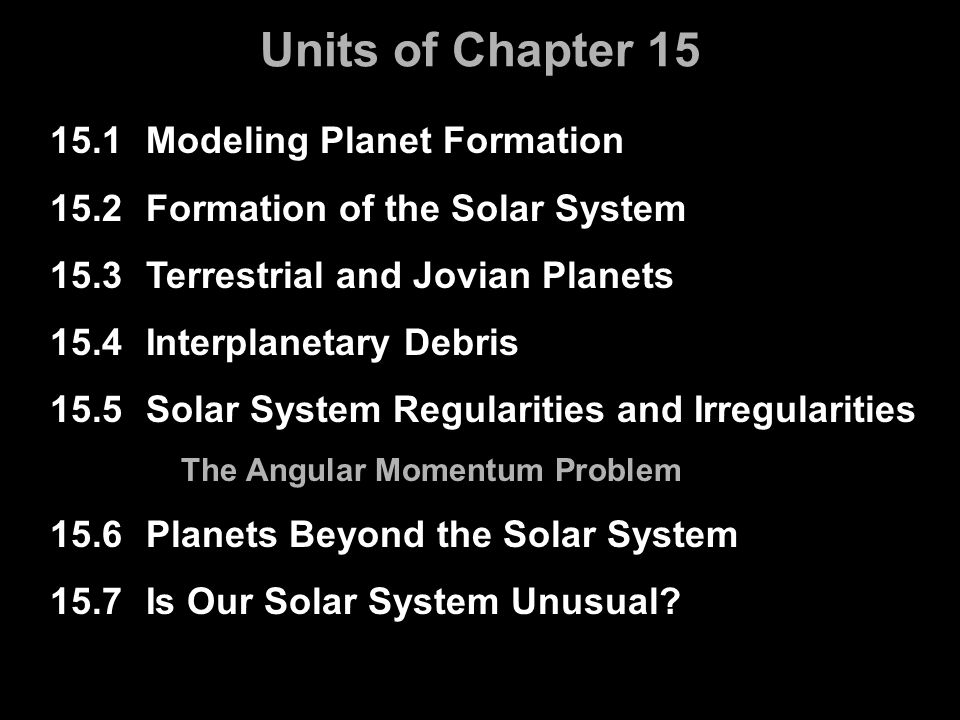 Units of Chapter 15 15.1 Modeling Planet Formation