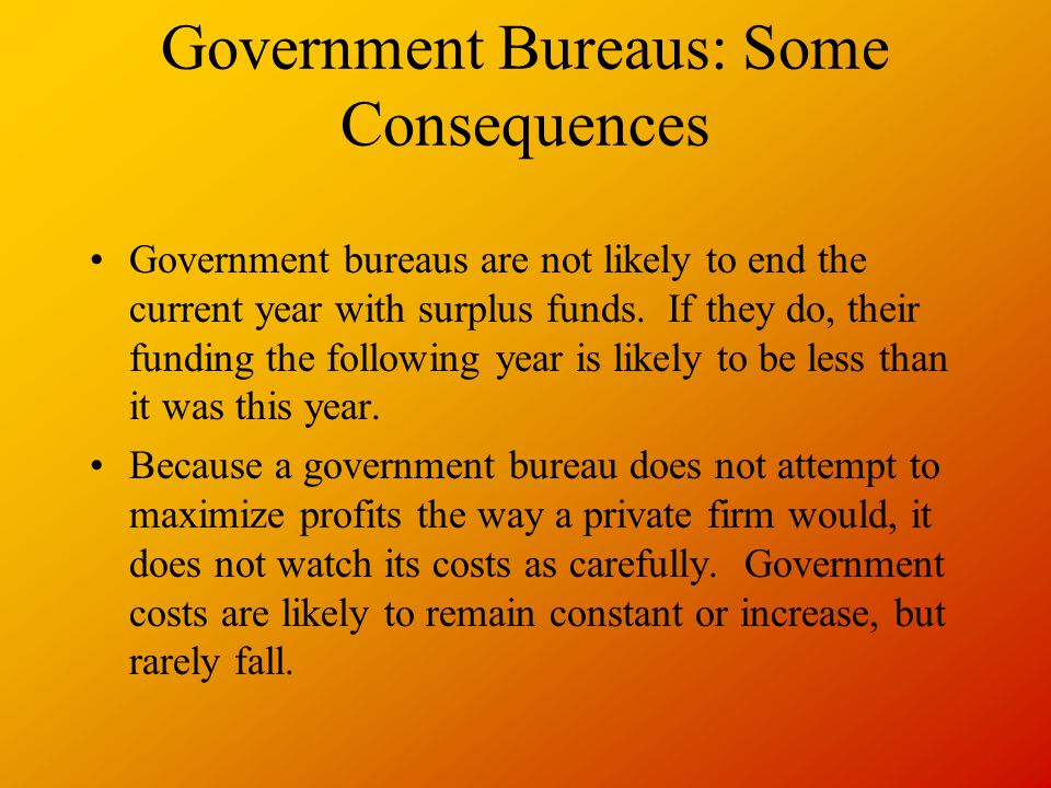 Government Bureaus: Some Consequences
