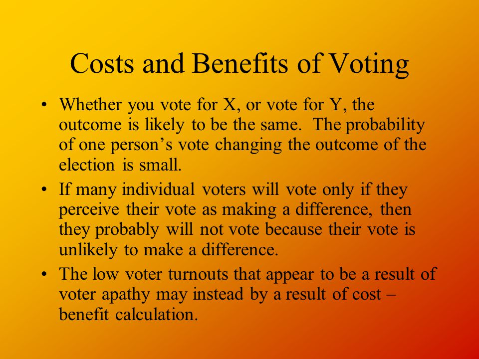 Costs and Benefits of Voting