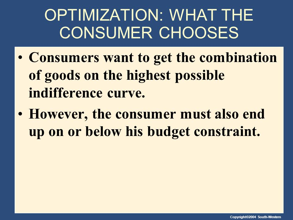 OPTIMIZATION: WHAT THE CONSUMER CHOOSES