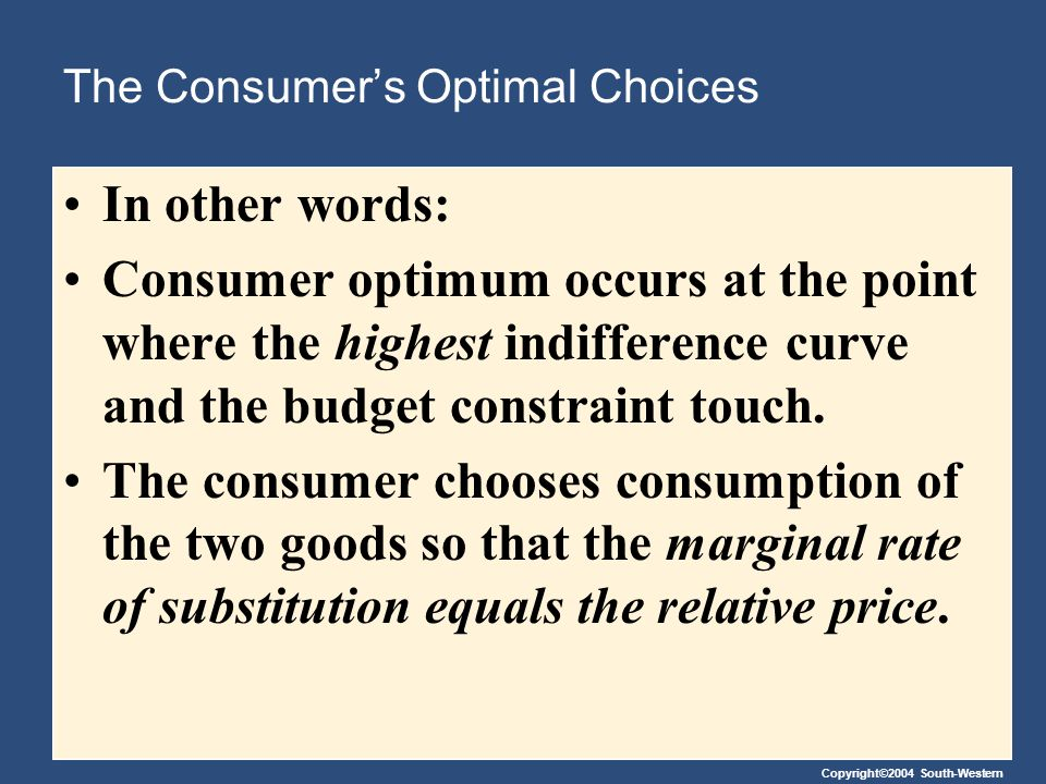 The Consumer's Optimal Choices