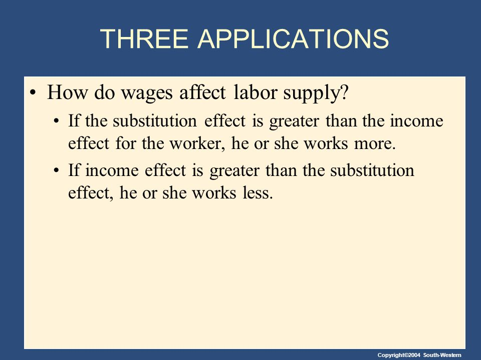 THREE APPLICATIONS How do wages affect labor supply
