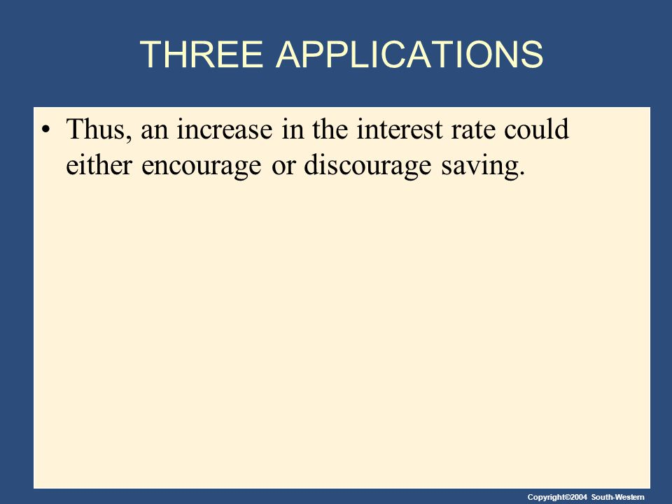 THREE APPLICATIONS Thus, an increase in the interest rate could either encourage or discourage saving.