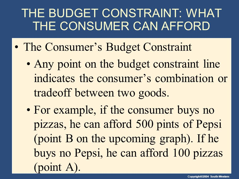 THE BUDGET CONSTRAINT: WHAT THE CONSUMER CAN AFFORD