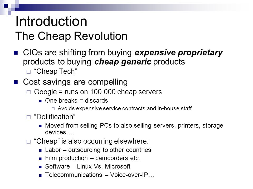 Introduction The Cheap Revolution