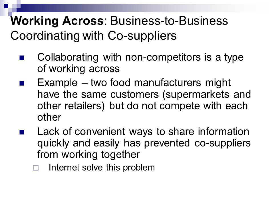 Working Across: Business-to-Business Coordinating with Co-suppliers