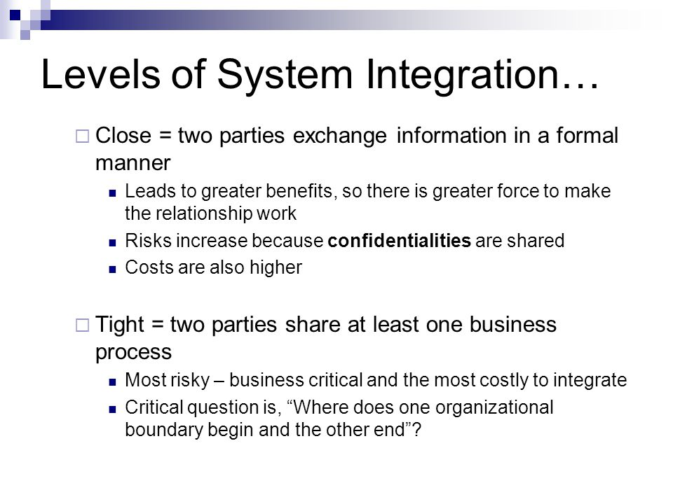 Levels of System Integration…