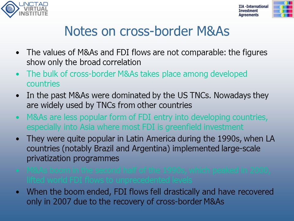 Notes on cross-border M&As
