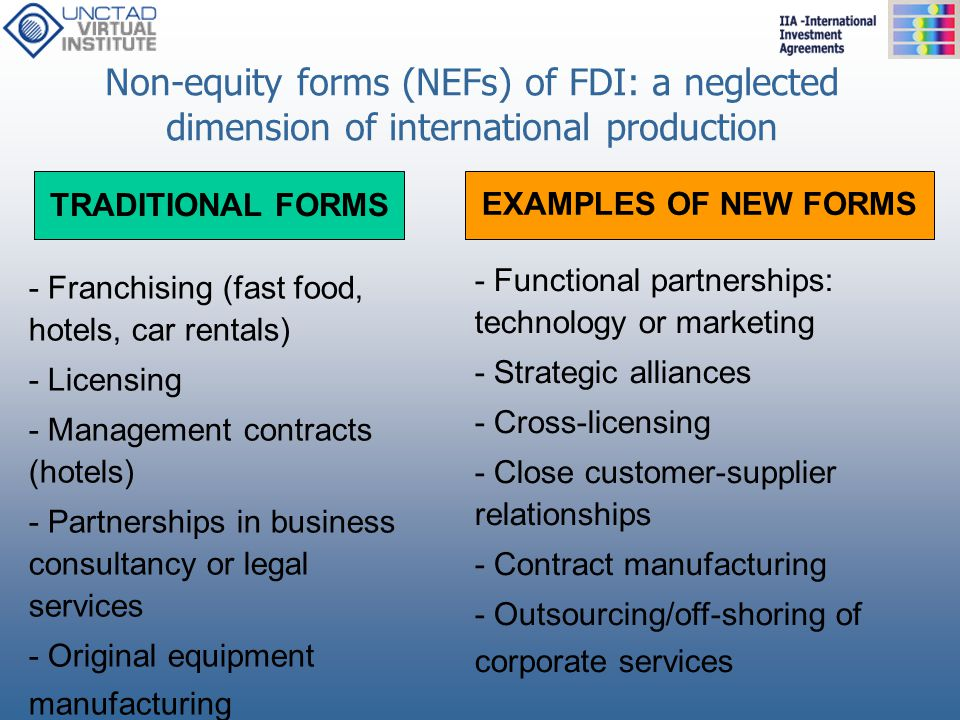 Non-equity forms (NEFs) of FDI: a neglected dimension of international production