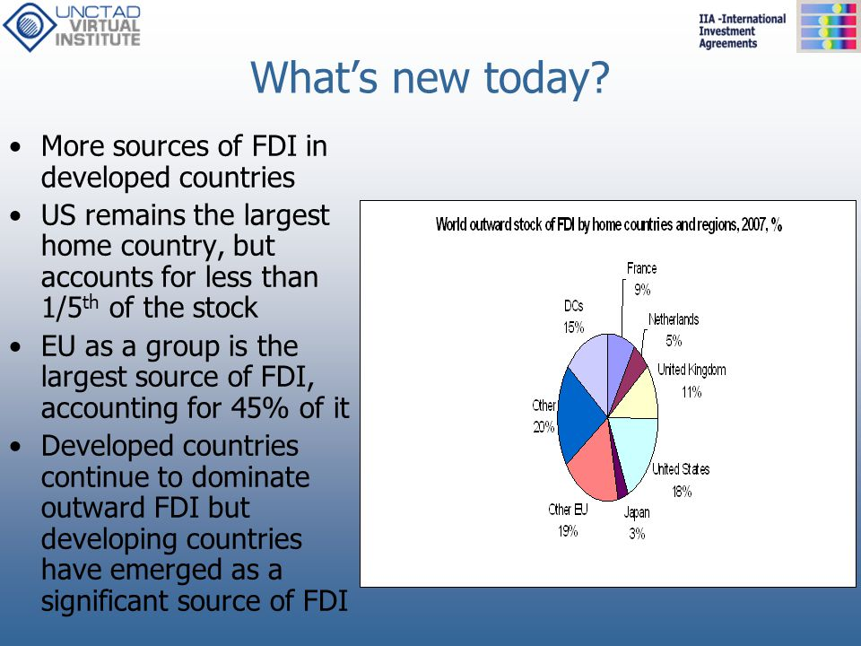 What's new today More sources of FDI in developed countries