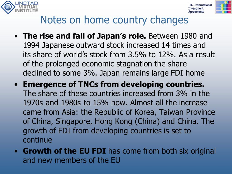 Notes on home country changes