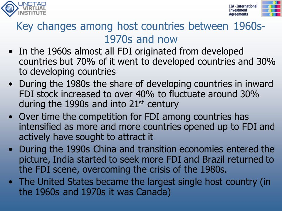 Key changes among host countries between 1960s-1970s and now