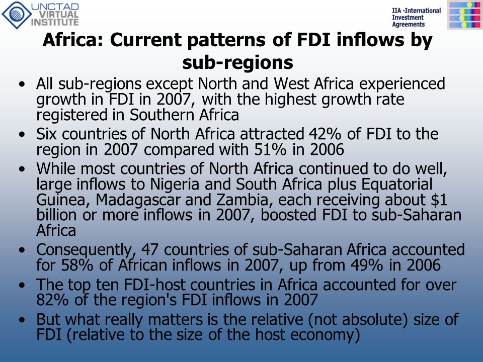 Africa: Current patterns of FDI inflows by sub-regions