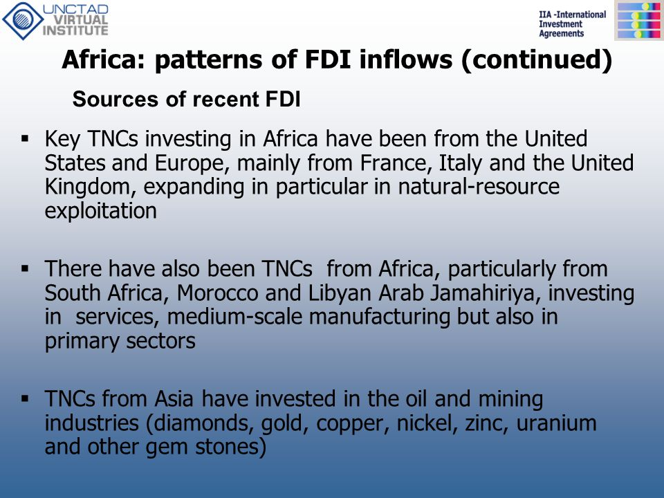 Africa: patterns of FDI inflows (continued)