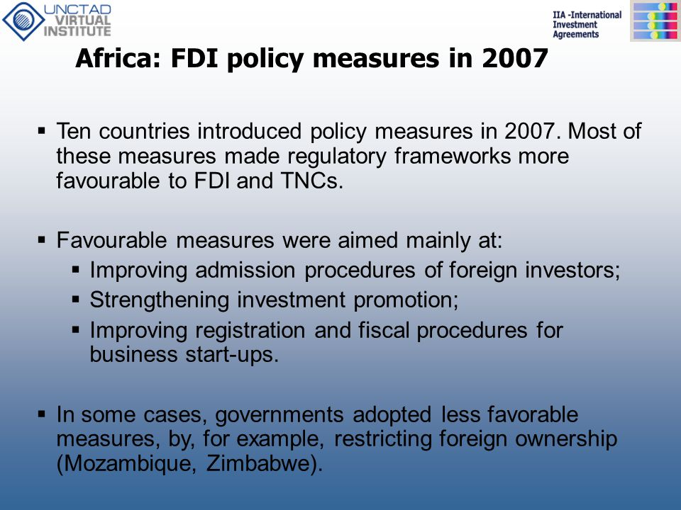 Africa: FDI policy measures in 2007