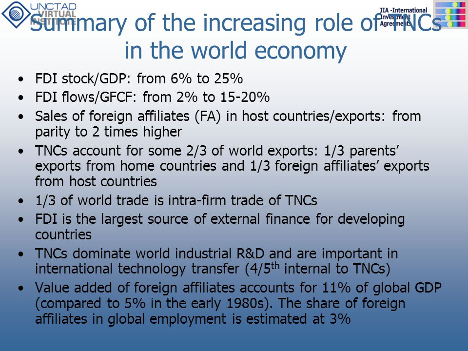 Summary of the increasing role of TNCs in the world economy