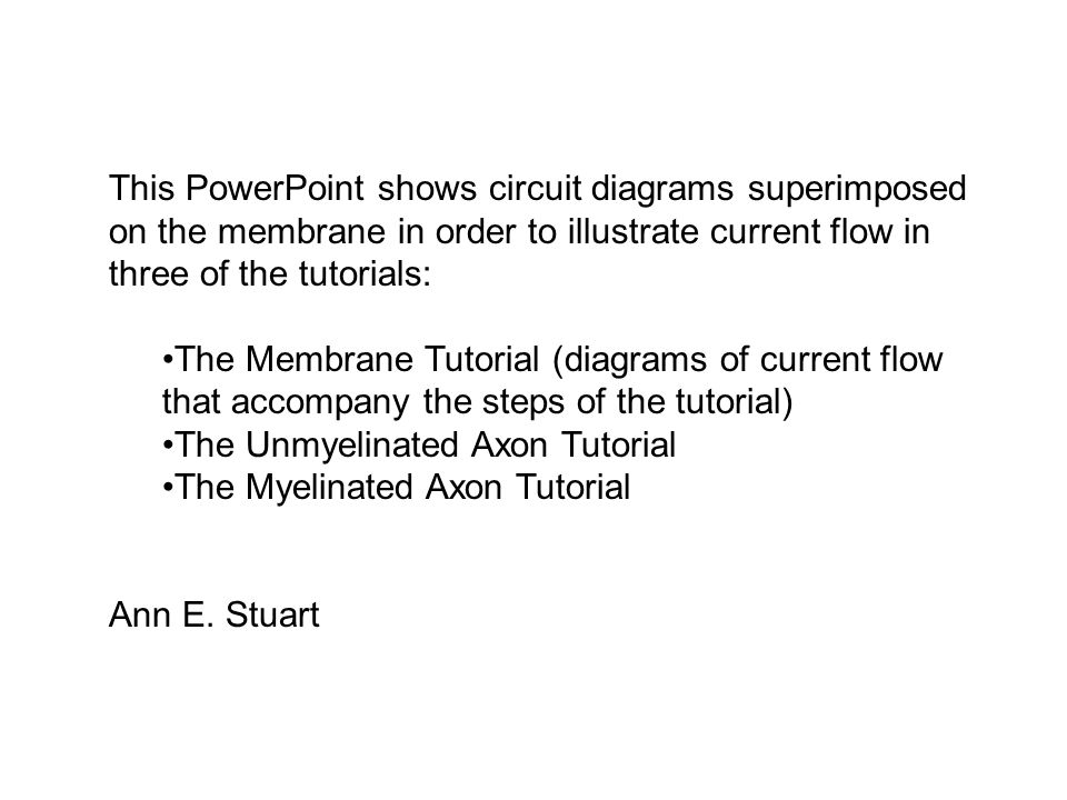 This PowerPoint shows circuit diagrams superimposed on the membrane in order to illustrate current flow in three of the tutorials: