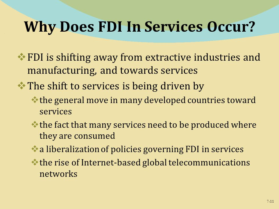 Why Does FDI In Services Occur