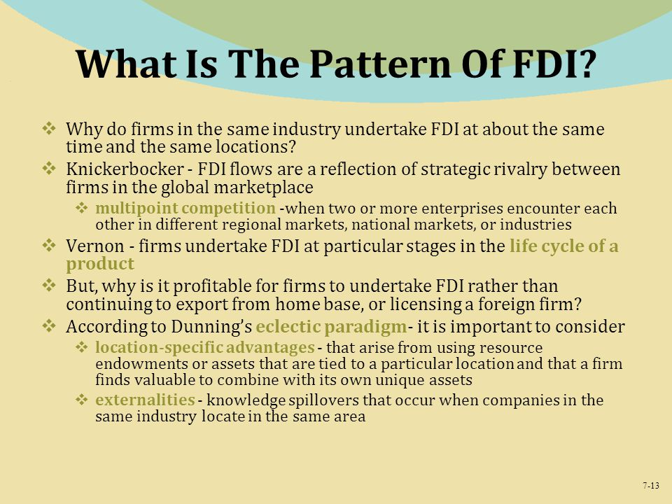 What Is The Pattern Of FDI