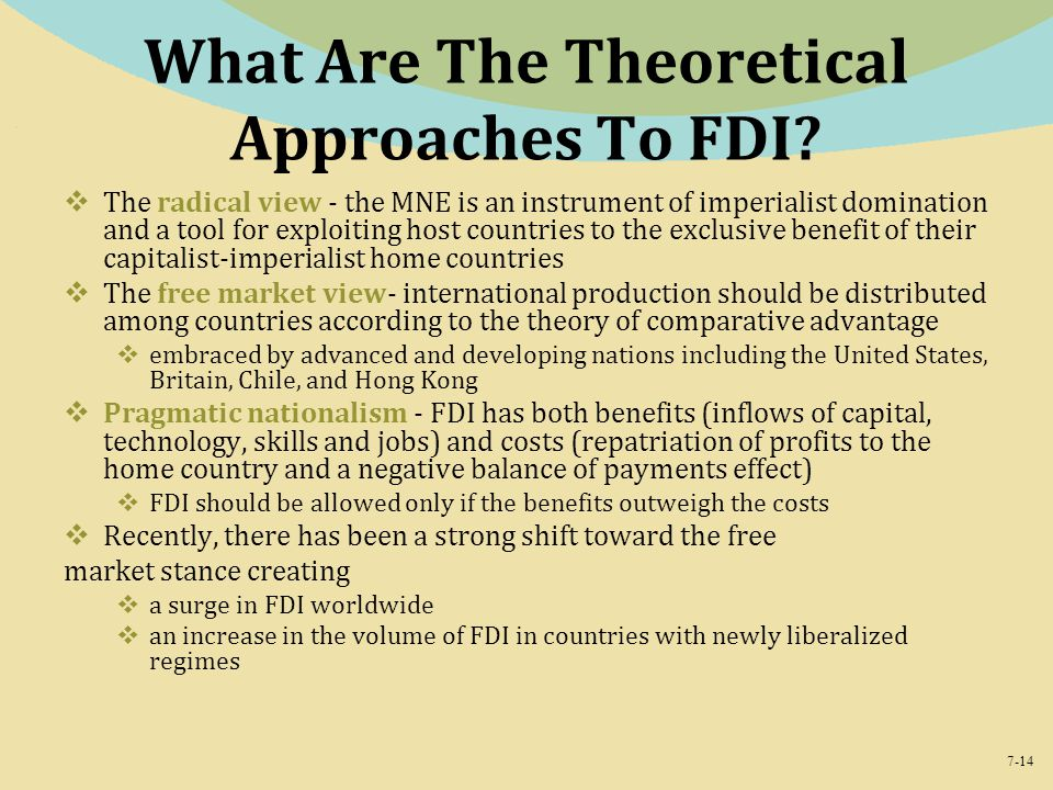 What Are The Theoretical Approaches To FDI