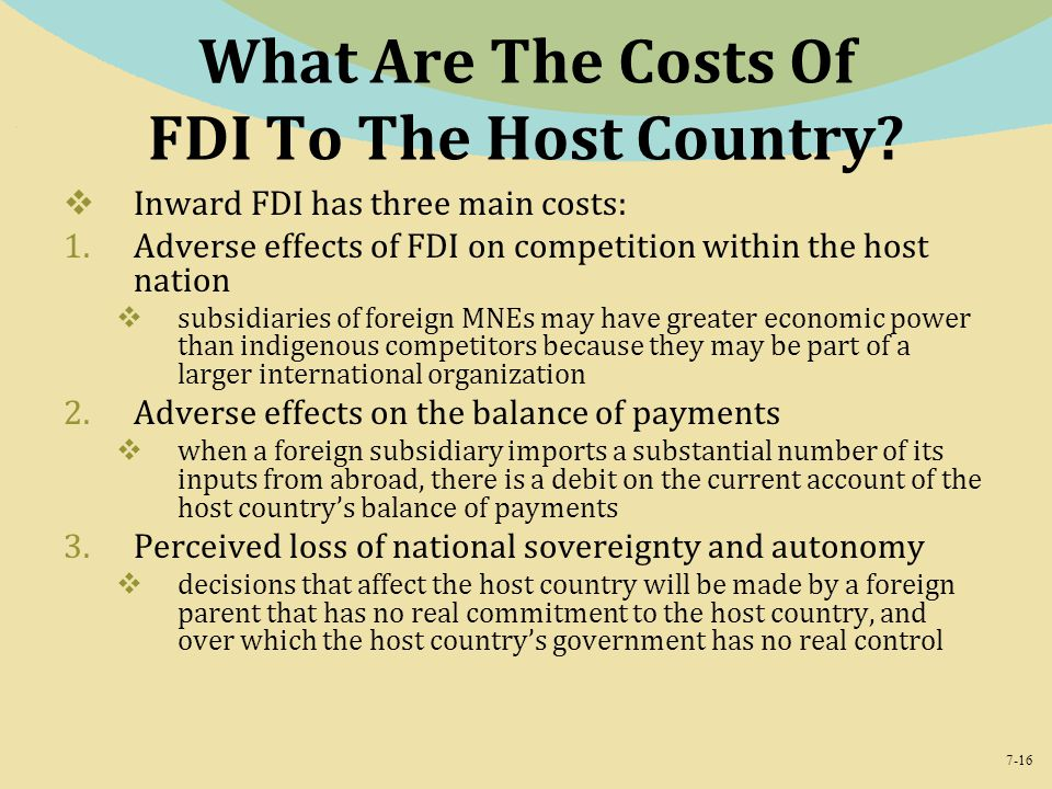 What Are The Costs Of FDI To The Host Country
