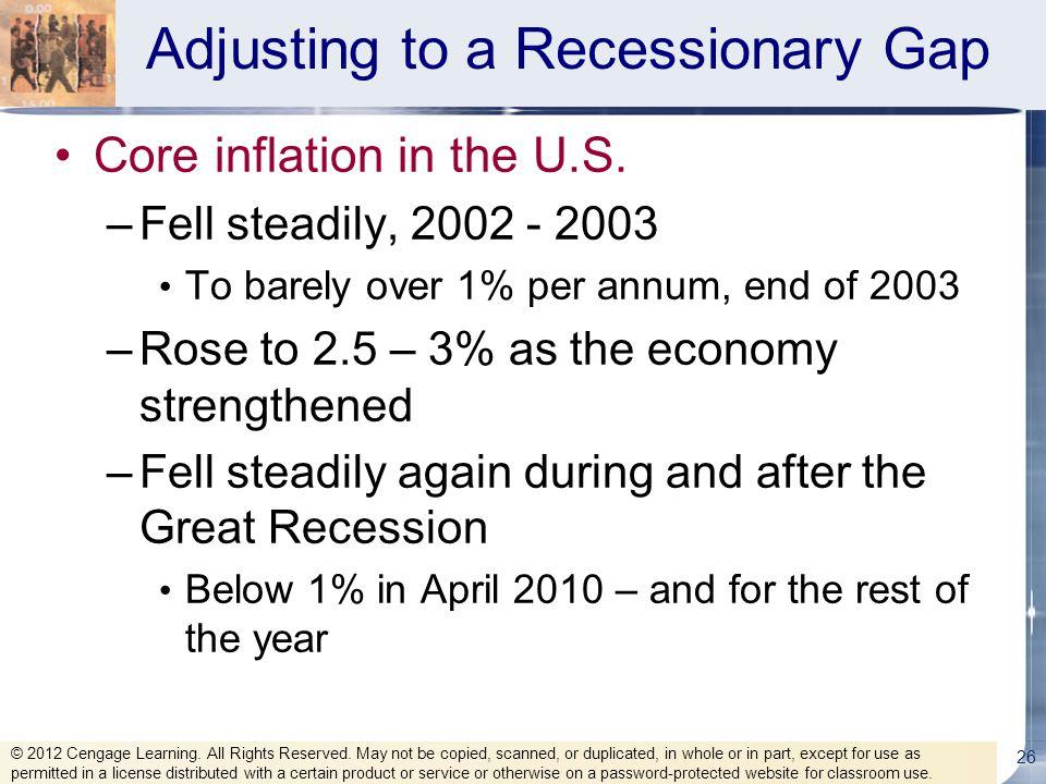 Adjusting to a Recessionary Gap