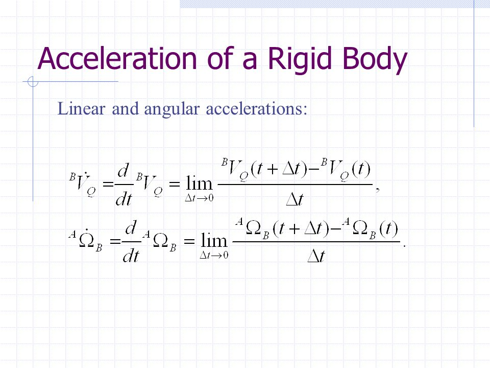 Acceleration of a Rigid Body
