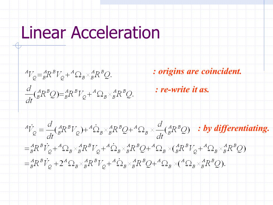Linear Acceleration : origins are coincident. : re-write it as.