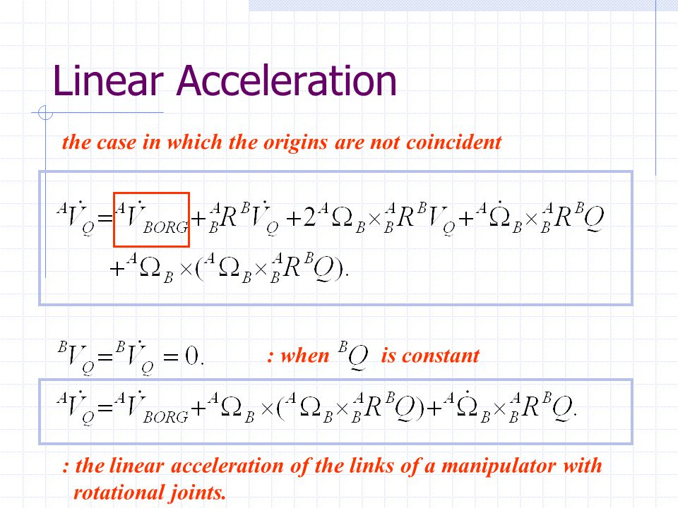 Linear Acceleration the case in which the origins are not coincident