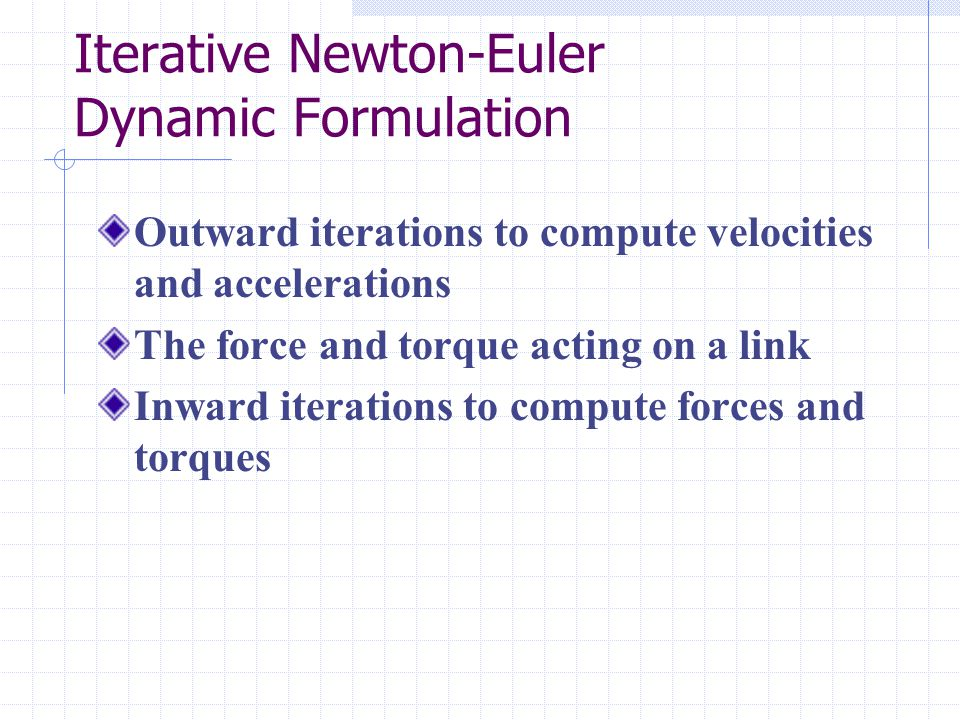 Iterative Newton-Euler Dynamic Formulation