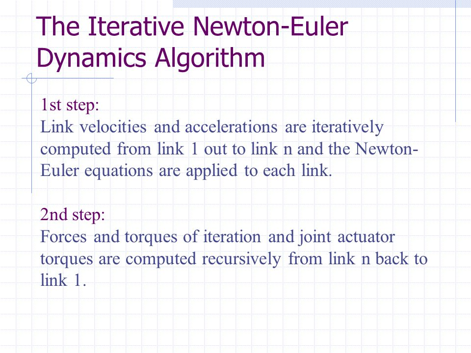 The Iterative Newton-Euler Dynamics Algorithm