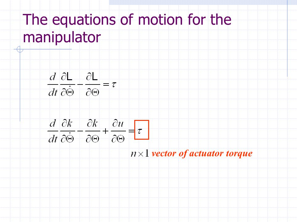 The equations of motion for the manipulator