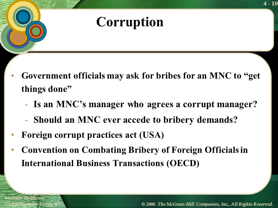 Corruption Is an MNC's manager who agrees a corrupt manager
