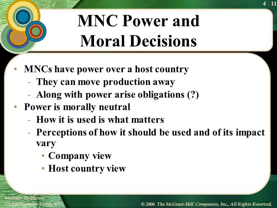 MNC Power and Moral Decisions