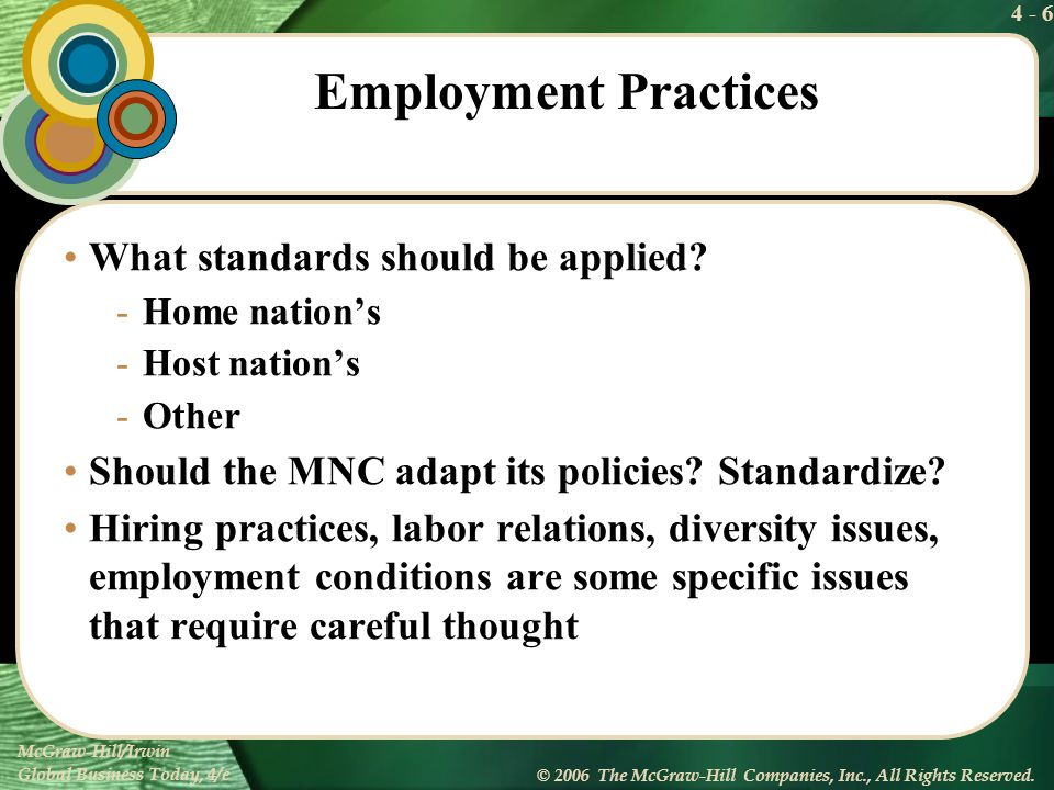 Employment Practices What standards should be applied