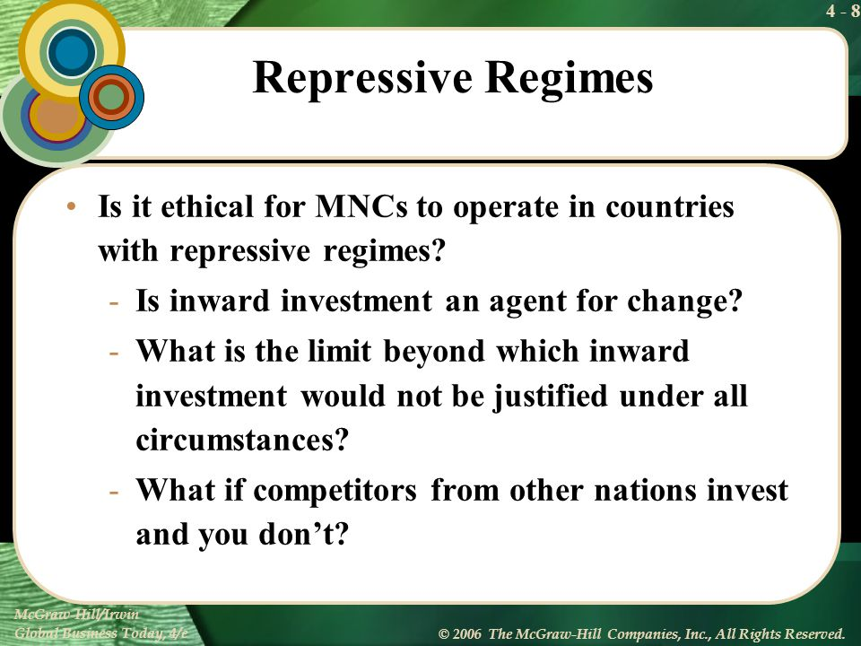 Repressive Regimes Is it ethical for MNCs to operate in countries with repressive regimes Is inward investment an agent for change