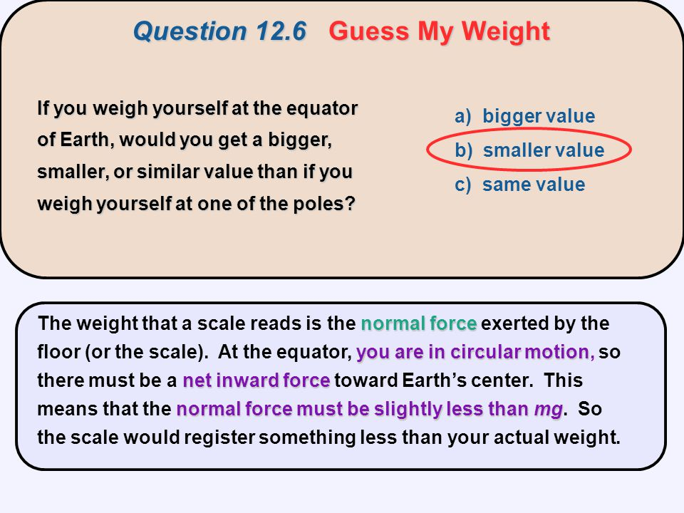 Question 12.6 Guess My Weight