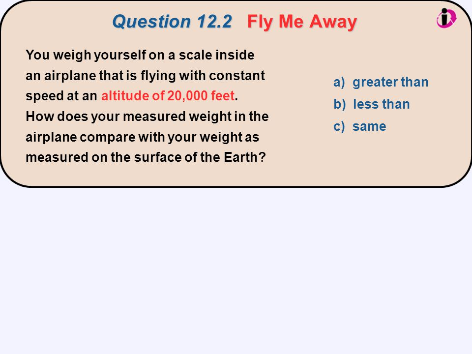 Question 12.2 Fly Me Away