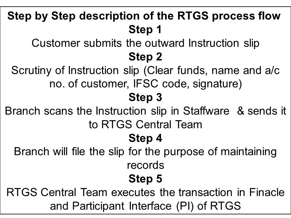 Step by Step description of the RTGS process flow Step 1